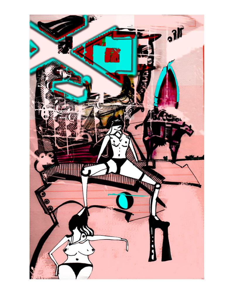 psychopopart mix media art limited print